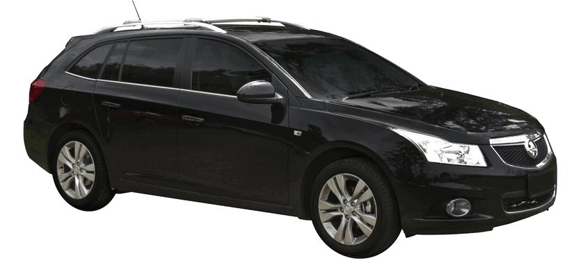 Whispbar Dakdragers (Zilver) Chevrolet Cruze 5dr Estate met Dakrails bouwjaar 2013 - e.v.|Complete set Dakdragers