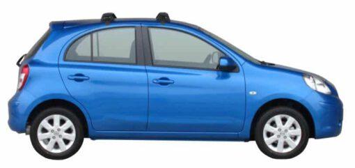 Whispbar Dakdragers Zilver Nissan Micra K13 5dr Hatch met Glad dak bouwjaar 2010-2013 Complete set dakdragers