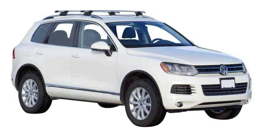 Whispbar Dakdragers Zilver Volkswagen Touareg 5dr SUV met Dakrails bouwjaar 2010-2014 Complete set dakdragers