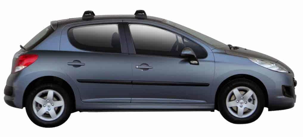 Whispbar Dakdragers Zilver Peugeot 207 5dr Hatch met Vaste bevestigingspunten bouwjaar 2006-2012 Complete set dakdragers
