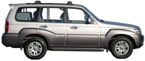 Whispbar Dakdragers Zilver Hyundai Terracan  5dr SUV met Track Mount bouwjaar 2001-2005 Complete set dakdragers