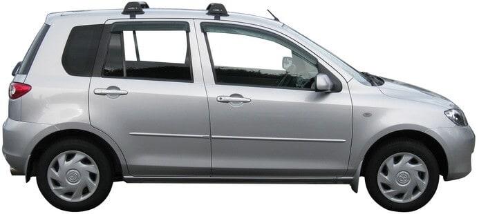 Whispbar Dakdragers Zilver Mazda 2  5dr Hatch met Glad dak bouwjaar 2002-2006 Complete set dakdragers