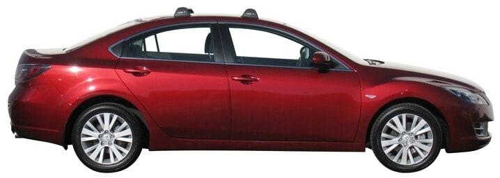 Whispbar Dakdragers Zilver Mazda 6  4dr Sedan met Vaste bevestigingspunten bouwjaar 2007-2011 Complete set dakdragers