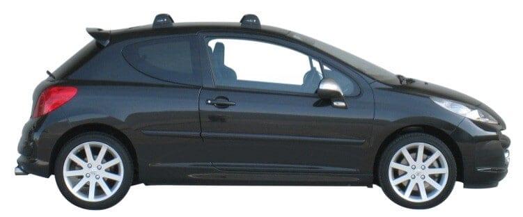 Whispbar Dakdragers Zilver Peugeot 207  3dr Hatch met Vaste bevestigingspunten bouwjaar 2006-2012 Complete set dakdragers