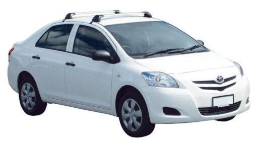 Whispbar Dakdragers Zilver Toyota Yaris  4dr Sedan met Glad dak bouwjaar 2005-2010 Complete set dakdragers