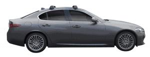 Whispbar Dakdragers (Zilver) Alfa Romeo Giulia 4dr Sedan met Glad dak bouwjaar 2016 - e.v. Complete set dakdragers
