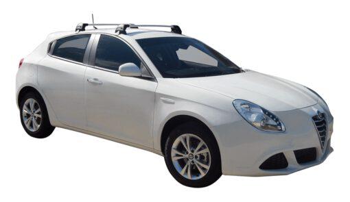 Whispbar Dakdragers (Zilver) Alfa Romeo Giulietta 5dr Hatch met Glad dak bouwjaar 2014 - e.v.|Complete set dakdragers