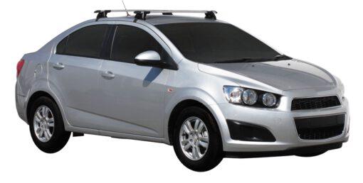 Whispbar Dakdragers (Zilver) Chevrolet Aveo 4dr Sedan met Glad dak bouwjaar 2011 - e.v.|Complete set dakdragers