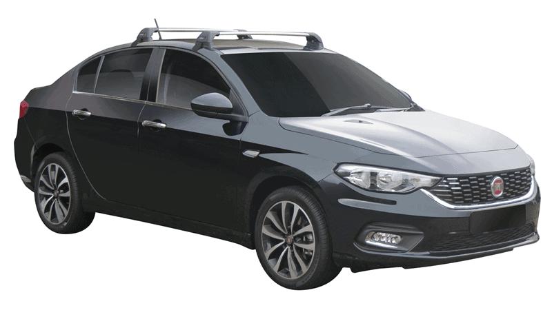 Whispbar Dakdragers (Zilver) Fiat Tipo 4dr Sedan met Glad dak bouwjaar 2016 - e.v.|Complete set dakdragers