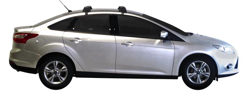 Whispbar Dakdragers (Zilver) Ford Focus 4dr Sedan met Glad dak bouwjaar 2011 - e.v.|Complete set dakdragers
