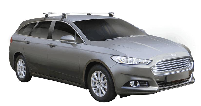 Whispbar Dakdragers (Zilver) Ford Mondeo 5dr Estate met Glad dak bouwjaar 2014 - e.v. Complete set dakdragers