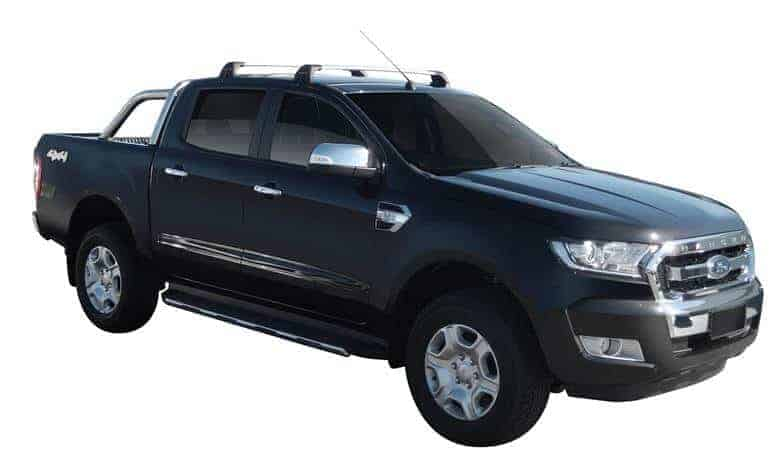 Whispbar Dakdragers (Zilver) Ford Ranger Double Cab 4dr Ute met Glad dak bouwjaar 2015 - e.v.|Complete set dakdragers
