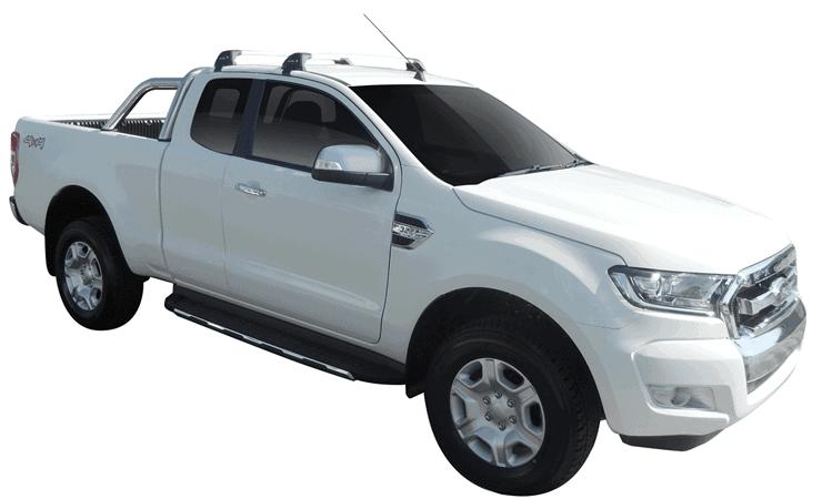 Whispbar Dakdragers (Zilver) Ford Ranger Super Cab 4dr Ute met Glad dak bouwjaar 2015 - e.v. Complete set dakdragers