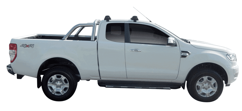 Whispbar Dakdragers (Zilver) Ford Ranger Super Cab 4dr Ute met Glad dak bouwjaar 2015 - e.v.|Complete set dakdragers