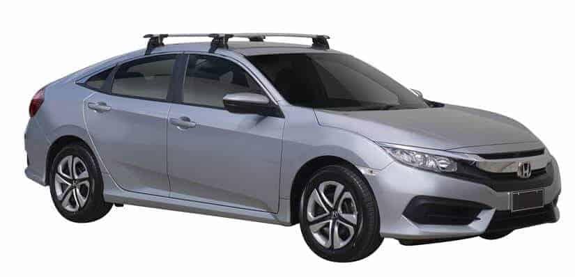 Whispbar Dakdragers (Zilver) Honda Civic 4dr Sedan met Glad dak bouwjaar 2017 - e.v.|Complete set dakdragers