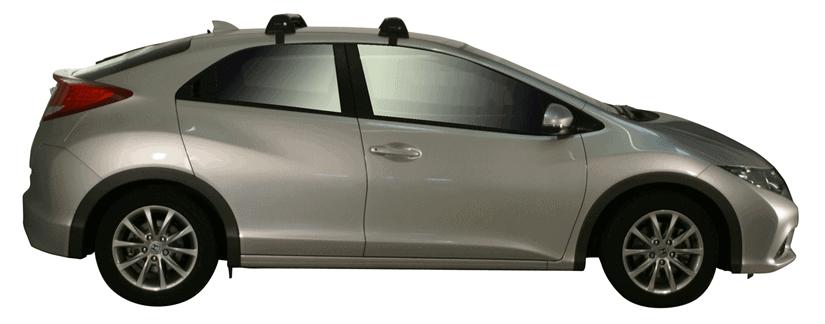 Whispbar Dakdragers (Zilver) Honda Civic 5dr Hatch met Glad dak bouwjaar 2012 - 2017|Complete set dakdragers
