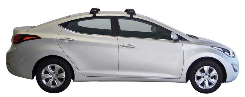 Whispbar Dakdragers (Zilver) Hyundai Elantra 4dr Sedan met Glad dak bouwjaar 2015 - 2016|Complete set dakdragers