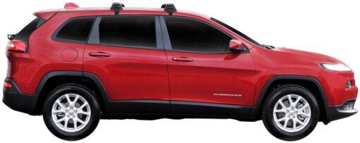 Whispbar Dakdragers (Zilver) Jeep Cherokee 5dr SUV met Glad dak bouwjaar 2014 - e.v. Complete set dakdragers