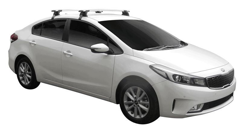 Whispbar Dakdragers (Zilver) Kia Cerato 4dr Sedan met Glad dak bouwjaar 2016 - e.v.|Complete set dakdragers