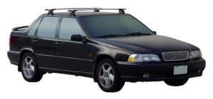 Whispbar Dakdragers Zwart Volvo S70 4dr Sedan met Glad Dak bouwjaar 1997-2000 Complete set dakdragers
