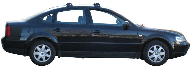 Whispbar Dakdragers Zilver Volkswagen Passat Mk5 4dr Sedan met Glad Dak bouwjaar 1997-2000 Complete set dakdragers
