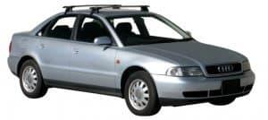 Whispbar Dakdragers Zilver Audi A4/S4/RS4 Limousine 4dr Sedan met Glad Dak bouwjaar 1995-1999 Complete set dakdragers