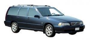 Whispbar Dakdragers Zwart Volvo V70 5dr Estate met Dakrails bouwjaar 1996-1999 Complete set dakdragers