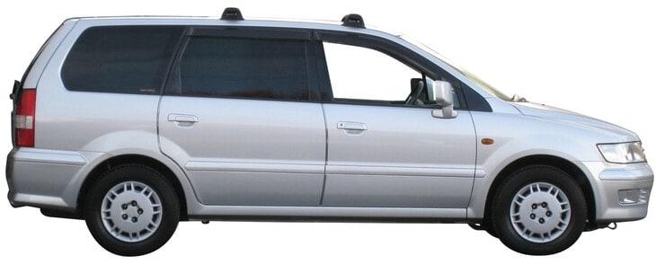 Whispbar Dakdragers Zilver Mitsubishi Chariot Grandis 5dr MPV met Vaste Bevestigingspunten bouwjaar 1998-2003 Complete set dakdragers